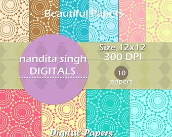 Beautiful Papers- Instant Download 10 Digital Papers- Personal and Commercial Use