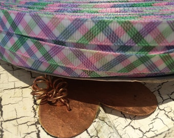 "3 yards 3/8"" Spring Plaid grosgrain ribbon"