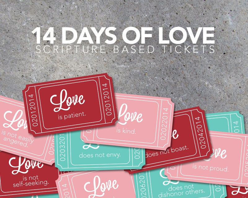14 days of love scripture based tickets valentines day countdown printable digital file - 14 Days Of Valentines For Him