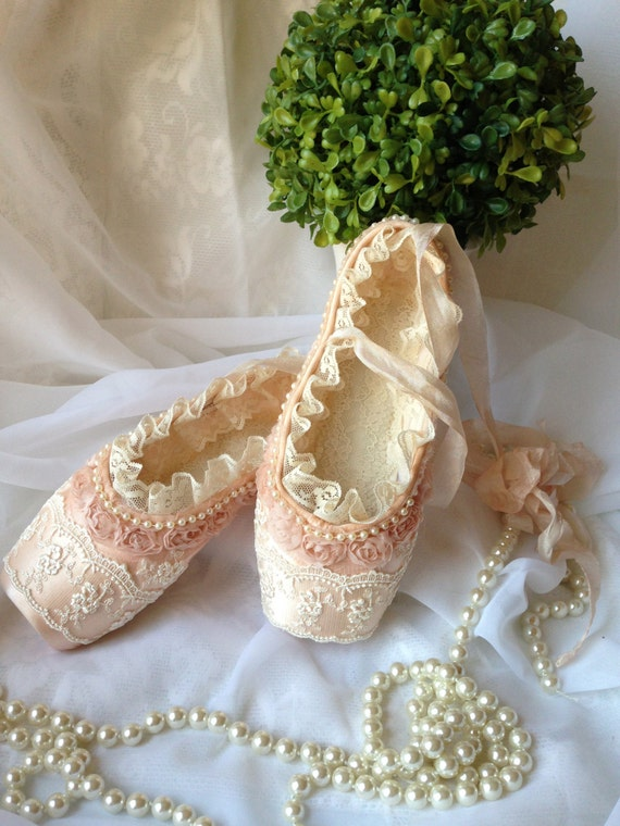 Ballet shoes decorated with lace and pearls home decor girl for Ballet shoes decoration