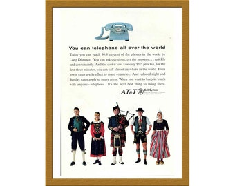 """1966 AT&T Bell System Color Print AD / You can telephone all over the world / 6"""" x 9"""" / Original Ad / Buy 2 ads Get 1 FREE"""