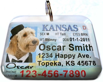 Kansas driver license Personalized Custom ID Tags for dogs and cats Double Sided pet tags