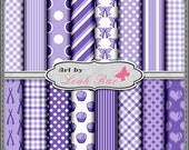 Purple Awareness Ribbons 1 - Digi Scrap Paper Pack Download for Personal  & Commercial Use Set 1