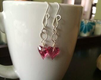 funky pink heart dangle earrings