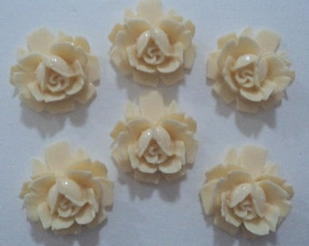 18mm round resin rose ivory plastic flowers cabochons 6 pc lot l