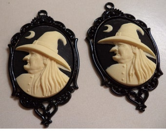 40mm x 30mm oval resin witch cameo ivory on black colors 2 pc lot Halloween l