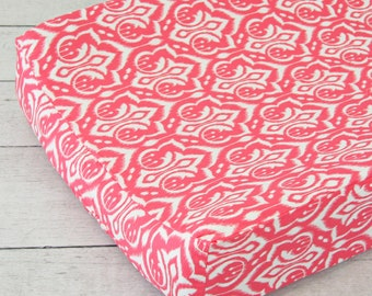 15% OFF SALE- Preppy Coral Changing Pad Cover