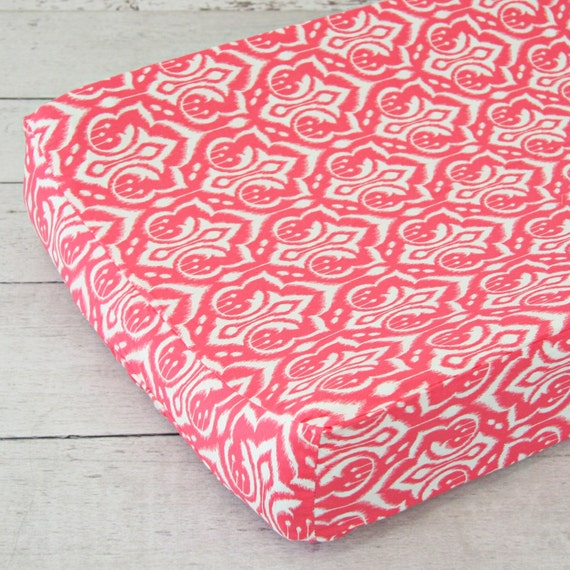 15 off sale preppy coral changing pad by cadenlanebabybedding. Black Bedroom Furniture Sets. Home Design Ideas