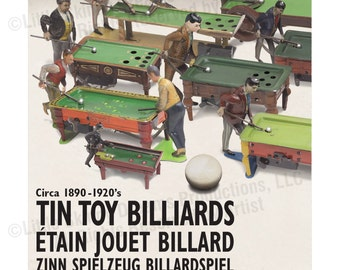 Tin Toy Billiards Print, 24 x 30, With Rare Antique Toys & Multi-Language Design