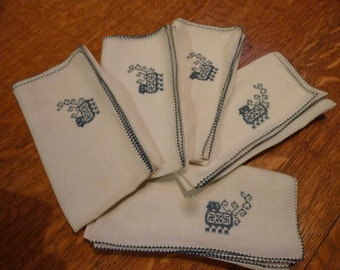 Five Vintage Embroidered Linen Napkins