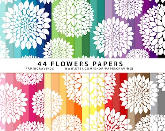 """Flowers Floral Digital Paper Pack 12"""" x 12"""" Commercial and Personal Use - rainbow printable 44 sheets peony scrapbook INSTANT DOWNLOAD"""