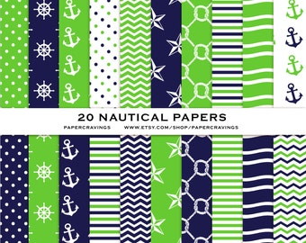 """Nautical Digital Paper Pack 12"""" x 12"""" Commercial and Personal Use printable 44 sheets Green Navy Nautical anchor knot waves INSTANT DOWNLOAD"""