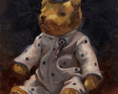 Original Still Life Painting in Oil by Catherine Bobkoski 5x7 Antique Teddy Bear