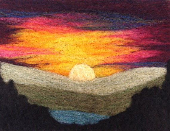 Paintings of Sunsets Mountains Mountain Sunset Needle Felting