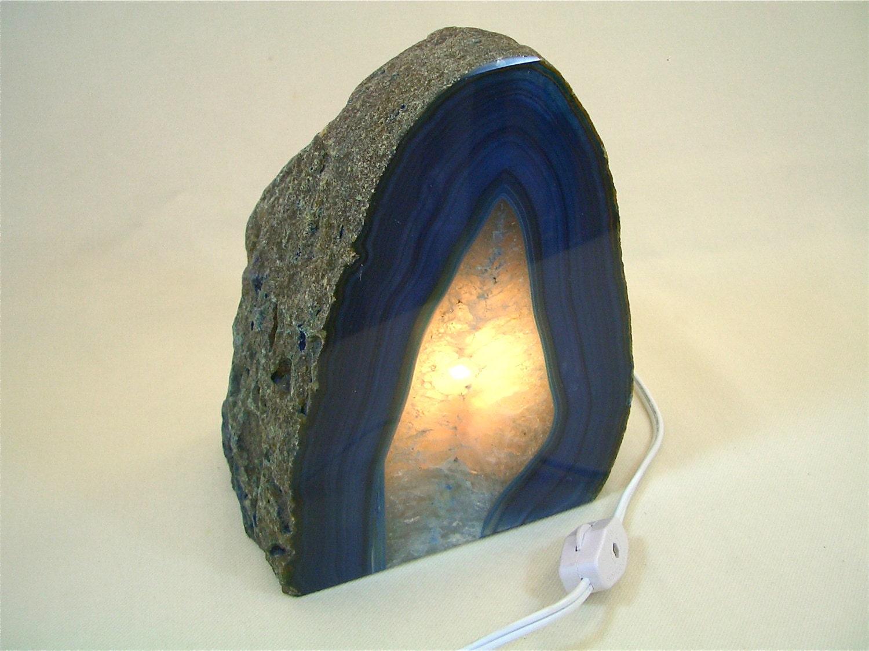 Large Blue Geode Stone Lamp Night Light Quartz Crystal