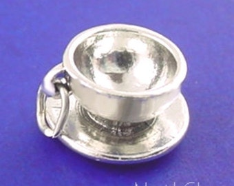 CUP And SAUCER Charm .925 Sterling Silver Coffee Tea Pendant - lp1906