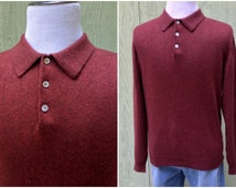 Mens Burgundy Colored Collared Button Down Cashmere Sweater from Glen Royal, Size L, Made in Hong Kong