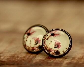 Glass cabochons earrings * flowers * e103