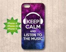 Keep Calm and listen to the music, glitter lights disco DJ, pink purple, iPhone 4/4s, 5, 5s, 5c case cover, birthday, Christmas gift 5P0038