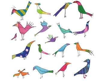 Bonkers birds. 19 zappy brightly coloured BIRDS . A fun printed card from  a collage original .