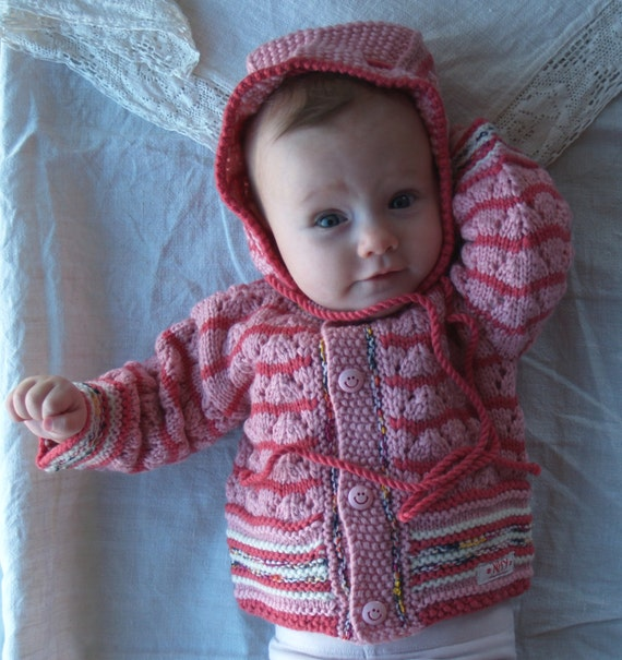 Knit baby sweater with hood, hooded cardigan, baby hoodie, pink merino wool jacket for baby girl 3-6 months.