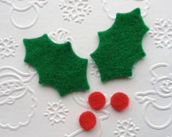 15 Felt Holly Leaves die cut appliques with berries for card toppers cardmaking scrpbooking christmas craft