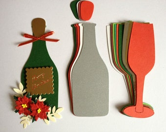 Champagne Bottle & Flutes glass christmas die cuts for cards toppers for cardmaking scrapbooking craft projects