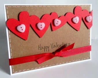 Handmade love heart border 'Happy Valentine' card with buttons comes with envelope