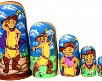 Pussin Boots traditional russian nesting doll toy curved painted hand collectible wood linden holiday birthday gift decorat