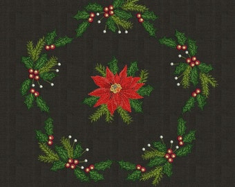Christmas Set2 (Holly and Poinsettia) - Machine Embroidery Designs