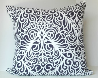 """Cushion cover, 20""""X20"""", in beautiful high quality designer fabric, white with navy blue damask like motifs"""