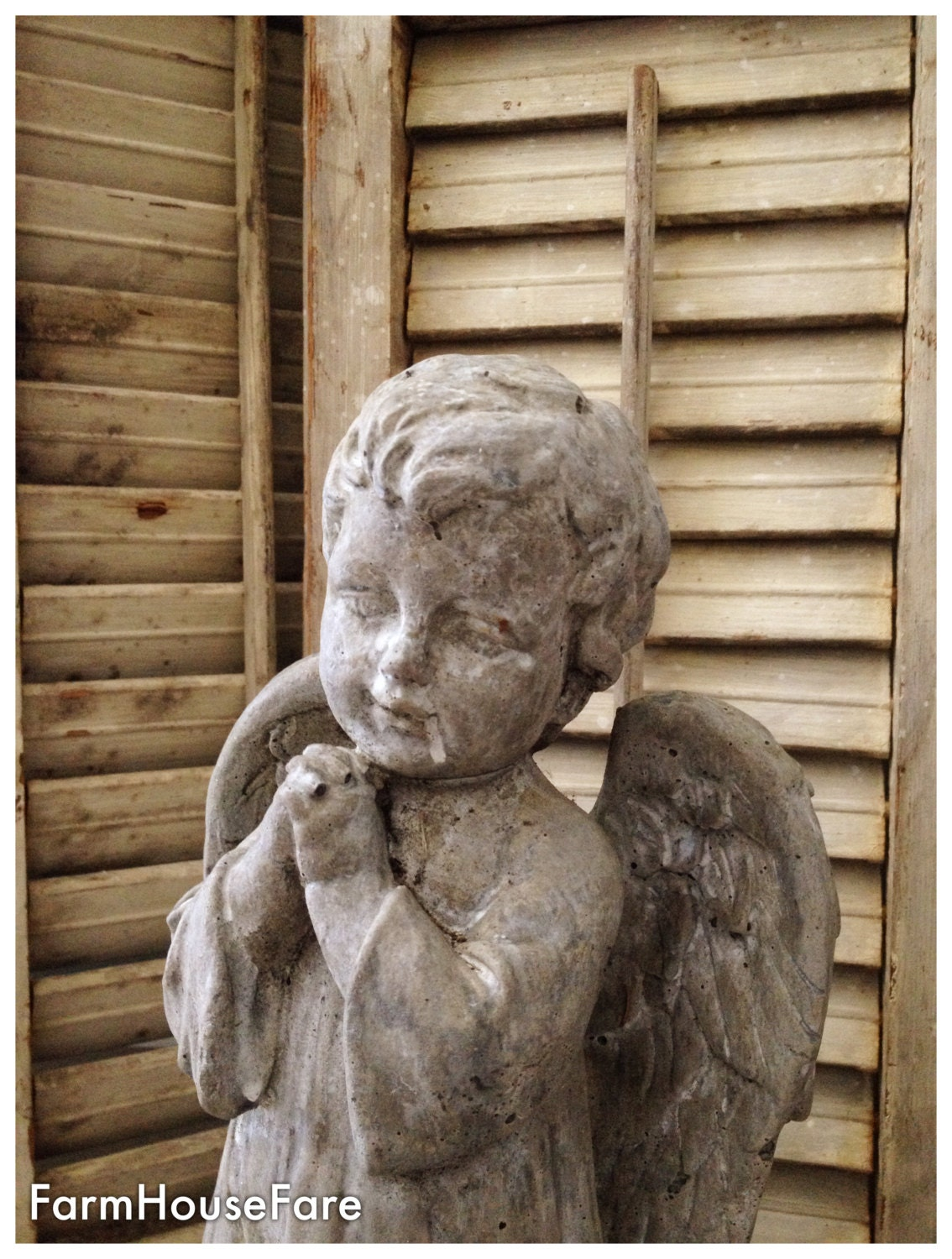 Old Garden Statue: Vintage Concrete Angel Statue French Nordic Religious Table