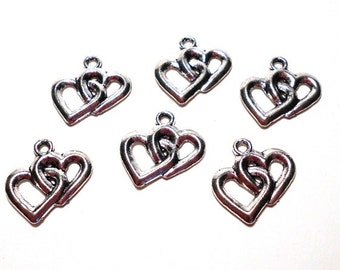 6 Silver Double Heart Charms , Antique Silver Heart Charms, Heart Charm, Heart Charms, Sweetheart Charms, Interlocking Heart Charm, SC0008