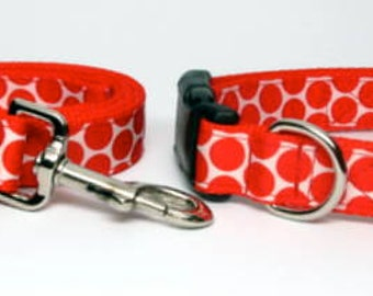 Red and White Polka Dot Dog Collar and Matching Leash  adjustable  with quick release buckle Medium, Large, Extra Large
