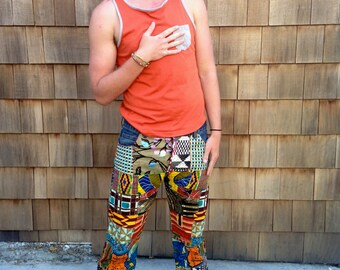 Patchwork Jeans, one-of-a-kind, up-cycled, hand made design from Ghana, Africa