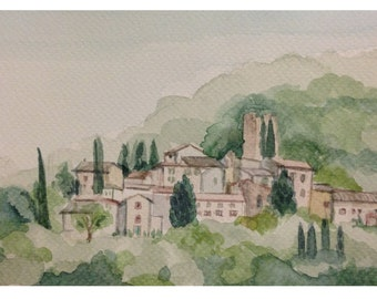 Barbischio, Gaiole in Chianti, watercolor