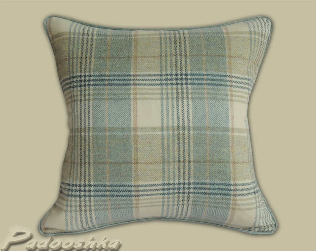 duck egg blue tweed cushion cover tartan wool cushion case. Black Bedroom Furniture Sets. Home Design Ideas