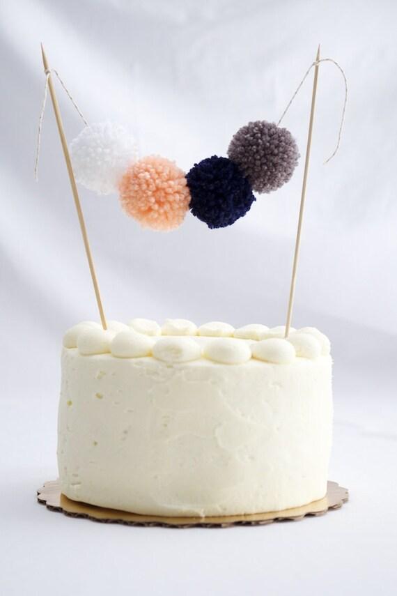 Festiva de la torta, guirnalda de pastel de pom pom, banner mini hilo pom pom pastel, rojo, empavesado pastel verde, amarillo y azul marino