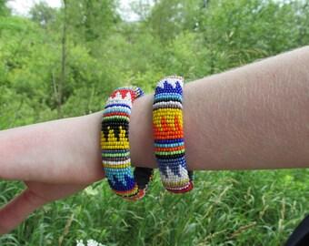 African Bead Bracelet Bangle - Handmade Zwa Zulu Natal