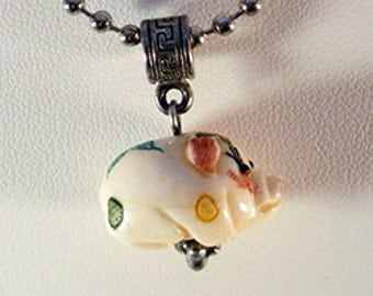 Bone Pig pendant necklace