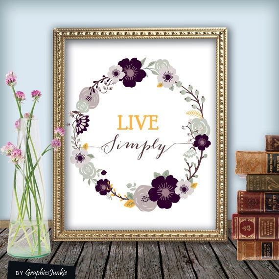 Quote print live simply printable wall art for Live simply wall art