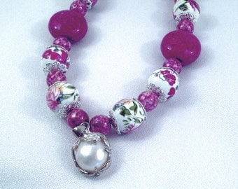 Visual Poetry ~ Lavender Rose Ceramic Bead Necklace (19-in)