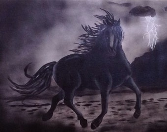 """36""""x24"""" Abstract Acrylic Painting of Black Horse"""