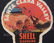 Shell Gasoline 1920s Travel Decal Magnet for SANTA CLARA VALLEY Accurately Reproduced & hand cut in shape as designed. Nice Travel Decal Art