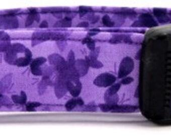 Purple Butterflies Handmade Fabric Dog Collar, Leash or Cat Collar