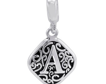 SALE- Dangles: Filigree Silver Alphabet A-Z Dangles for Charm and Bead Necklaces or Bracelets  (HHA- HHZ)