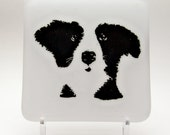 Reserved for Penni Lundquist  Four Sweet Pup Fused Glass White Coaster