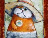 "Ella the Gardnerer by Kat McD. Cat Portrait on 12"" x 16"" canvas"