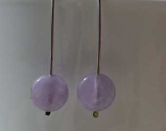 Modern Lavender Amethyst Coin Earrings Handmade