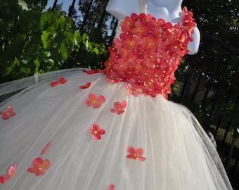 Flower Girl Dress, Special Occasion Dress, Girls Coral Dress, Toddler Ivory Coral Dress, Infant Ivory Coral Dress